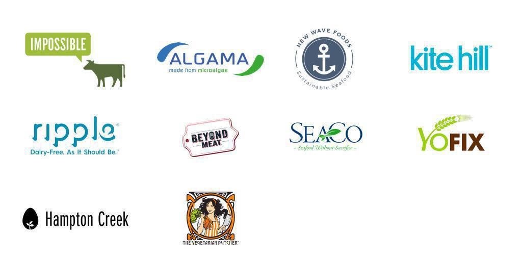 Logos of companies who create plant-based alternatives.