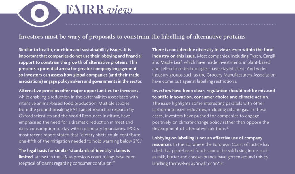 FAIRR's view on why investors must be wary of proposals to constrain the labelling of alternative proteins.