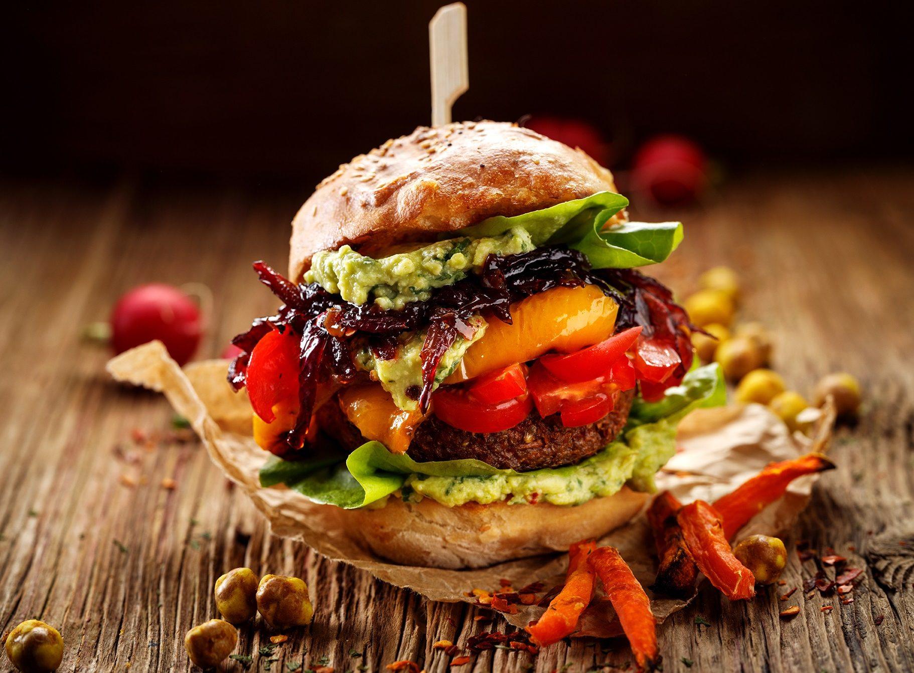 Vegan Burger, Carrot Burger, Homemade Burger With Carrot Cutlet,